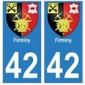 42 Firminy autocollant plaque blason armoiries stickers département