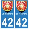 42 La Ricamerie autocollant plaque blason armoiries stickers département
