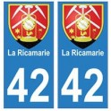42 La Ricamerie autocollant plaque blason armoiries stickers département