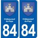 84 Châteauneuf-du-Pape blason autocollant plaque stickers ville