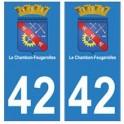 42 Le Chambon-Feugerolles autocollant plaque blason armoiries stickers département