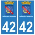 42 Le Chambon-Feugerolles autocollant plaque blason armoiries stickers département