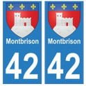 42 Montbrison autocollant plaque blason armoiries stickers département