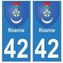 42 Roanne autocollant plaque blason armoiries stickers département