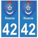 42 Roanne autocollant plaque blason armoiries stickers département
