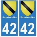 42 Roche-la-molière autocollant plaque blason armoiries stickers département
