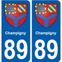 89 Champigny coat of arms sticker plate stickers city
