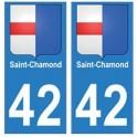 42 Saint-Chamond autocollant plaque blason armoiries stickers département