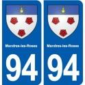 94 Mandres-les-Roses blason autocollant plaque stickers ville