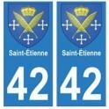 42 Saint-Etienne autocollant plaque blason armoiries stickers département