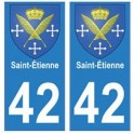 42 Saint-Etienne autocollant plaque blason armoiries stickers département