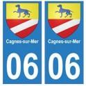 06 Cagnes-sur-Mer ville autocollant plaque