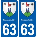63 Martens-Artières coat of arms sticker plate stickers city