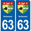 63 Nohanent blason autocollant plaque stickers ville