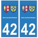 42 Saint-Just-Saint-Rambert autocollant plaque blason armoiries stickers département