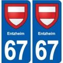 67 Entzheim blason autocollant plaque stickers ville