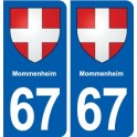 67 Mommenheim coat of arms sticker plate stickers city