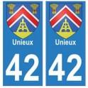 42 Unieux autocollant plaque blason armoiries stickers département