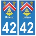 42 Unieux autocollant plaque blason armoiries stickers département