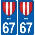 67 Still blason autocollant plaque stickers ville