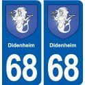68 Didenheim coat of arms sticker plate stickers city