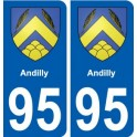 95 Andilly coat of arms sticker plate stickers city
