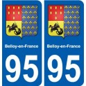 95 Belloy-en-France coat of arms decal plate sticker city