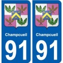 91 Champcueil coat of arms sticker plate stickers city