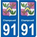 91 Champcueil blason autocollant plaque stickers ville