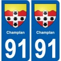91 Champlan coat of arms sticker plate stickers city