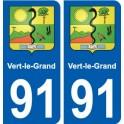 91 Vert-le-Grand blason autocollant plaque stickers ville