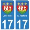 17 La rochelle ville blason autocollant plaque immatriculation sticker