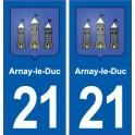 21 Arnay-le-Duc blason ville autocollant plaque sticker
