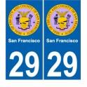 San Francisco USA ville Autocollant plaque immatriculation auto sticker numéro au choix sticker city