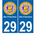 San Francisco USA ville Autocollant plaque immatriculation auto sticker numéro au choix sticker city