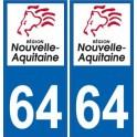 64 Pyrénées Atlantiques autocollant plaque immatriculation auto département sticker