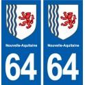 64 Pyrénées Atlantiques autocollant plaque immatriculation auto département sticker Nouvelle Aquitaine blason