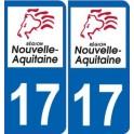17 Charente-Maritime autocollant plaque immatriculation auto département sticker Nouvelle Aquitaine logo