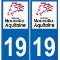 19 Corrèze autocollant plaque immatriculation auto département sticker Nouvelle Aquitaine logo