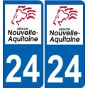 24 Dordogne sticker plaque immatriculation auto department sticker New Aquitaine logo