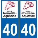 40 Landes autocollant plaque immatriculation auto département sticker Nouvelle Aquitaine logo