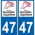 47 Lot-Et-Garonne Gironde autocollant plaque immatriculation auto département sticker Nouvelle Aquitaine logo