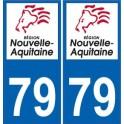 79 deux-Sèvres sticker plaque immatriculation auto department sticker New Aquitaine logo