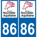 86 Vienne sticker plaque immatriculation auto department sticker New Aquitaine logo