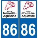 86 Vienne autocollant plaque immatriculation auto département sticker Nouvelle Aquitaine logo