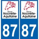 87 Haute-Vienne autocollant plaque immatriculation auto département sticker Nouvelle Aquitaine logo