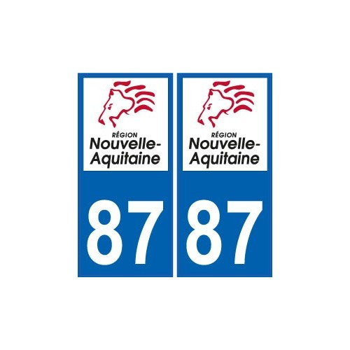 87 HAUTE-VIENNE LIMOUSIN DEPARTEMENT IMMATRICULATION 2 X AUTOCOLLANTS STICKER