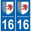 16 Charente autocollant plaque immatriculation auto département sticker Nouvelle Aquitaine blason