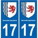 17 Charente-Maritime autocollant plaque immatriculation auto département sticker Nouvelle Aquitaine blason