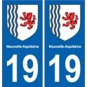 19 Corrèze autocollant plaque immatriculation auto département sticker Nouvelle Aquitaine blason